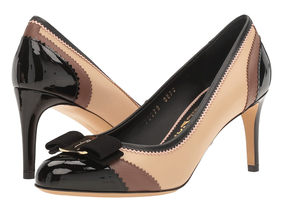 Salvatore Ferragamo Tri-Color Patent Leather Mid-Heel Pump (Nero Patent) High Heels
