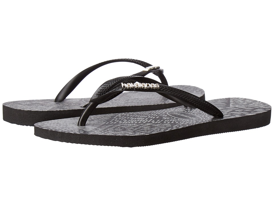 Havaianas - Slim Metal Animals Sandal (Black/Black) Women's Sandals