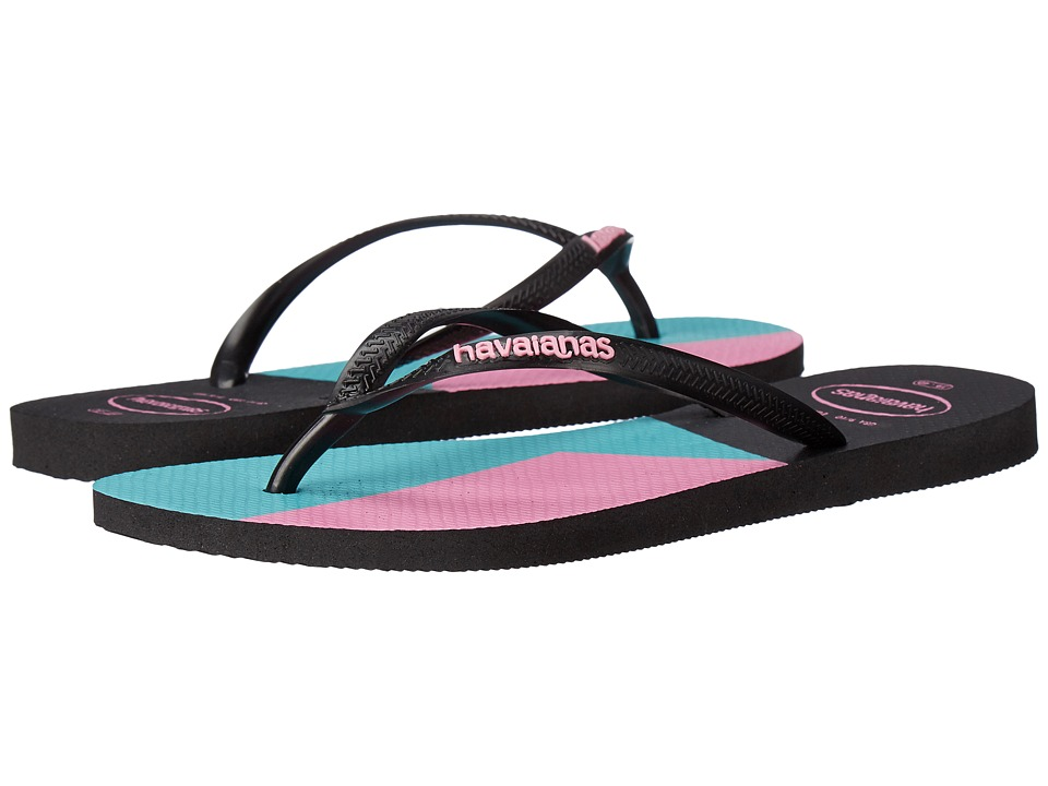 Havaianas - Slim Color Block Sandal (Black/Black) Women's Sandals
