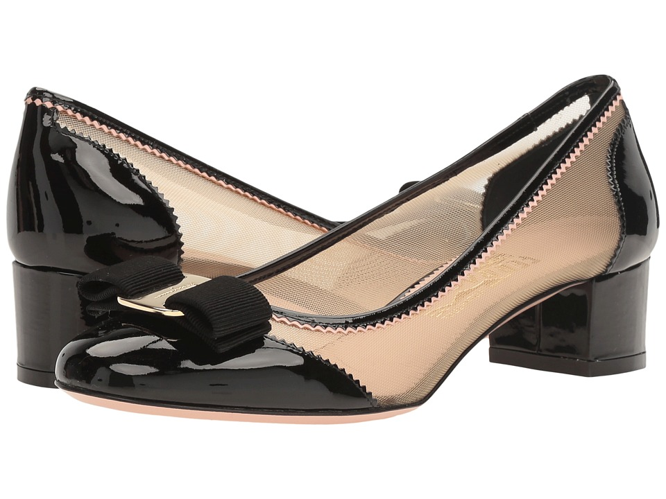 Salvatore Ferragamo Patent Leather And Netted Low-Heel Pump (Nero Patent) High Heels