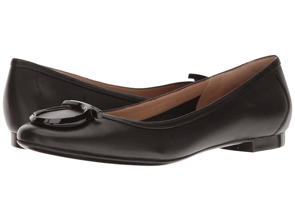 Salvatore Ferragamo - Nappa Ballerina Flat With Large Gancio (Nero Nappa Plonge) Women's Flat Shoes