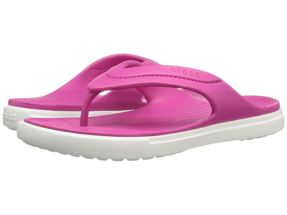 Crocs - CitiLane Flip (Candy Pink/White) Slide Shoes