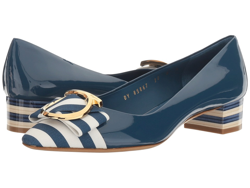 Salvatore Ferragamo - Striped Patent Leather Low-Heel Pump (Pacific Patent) High Heels