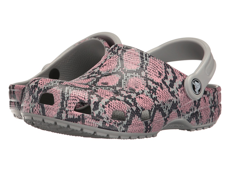 Crocs - Classic Snake Graphic Clog (Light Grey) Clog/Mule Shoes