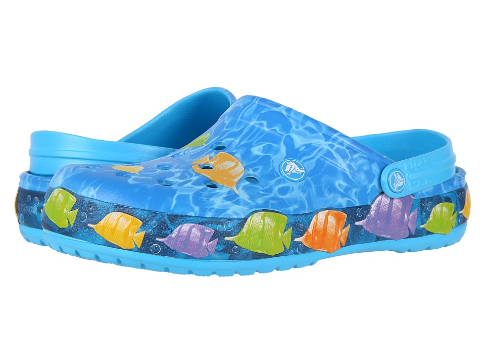 Crocs Crocband Lights Fish Clog (Electric Blue) Clog/Mule Shoes