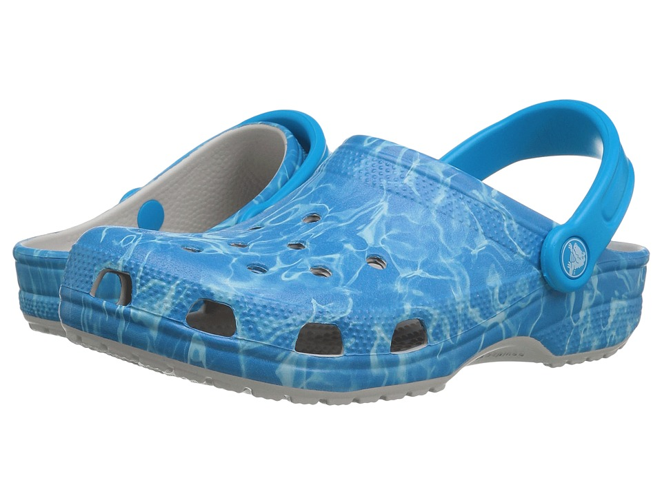 Crocs Classic Water Graphic Clog (Pearl White) Clog/Mule Shoes