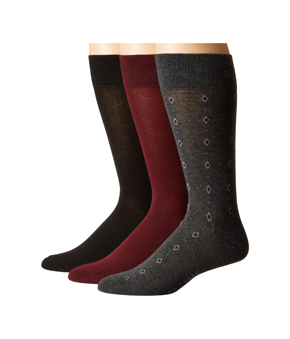Cole Haan - Diamond Neats Crew 3-Pack (Graphite Heather/Port Royale/Black 1) Men's Crew Cut Socks Shoes