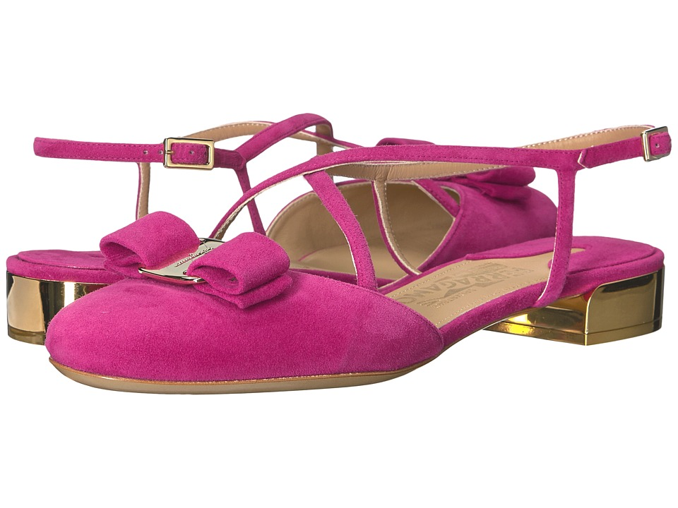 Salvatore Ferragamo - Suede Closed-Toe Sandal (Sangria Suede Kid RO) Women's Flat Shoes