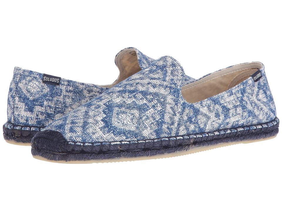 Soludos - Printed Smoking Slipper (Indigo) Men's Flat Shoes
