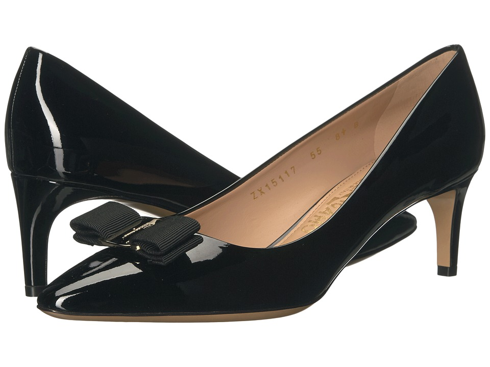 Salvatore Ferragamo - Leather Mid-Heel Pump (Nero Patent) High Heels