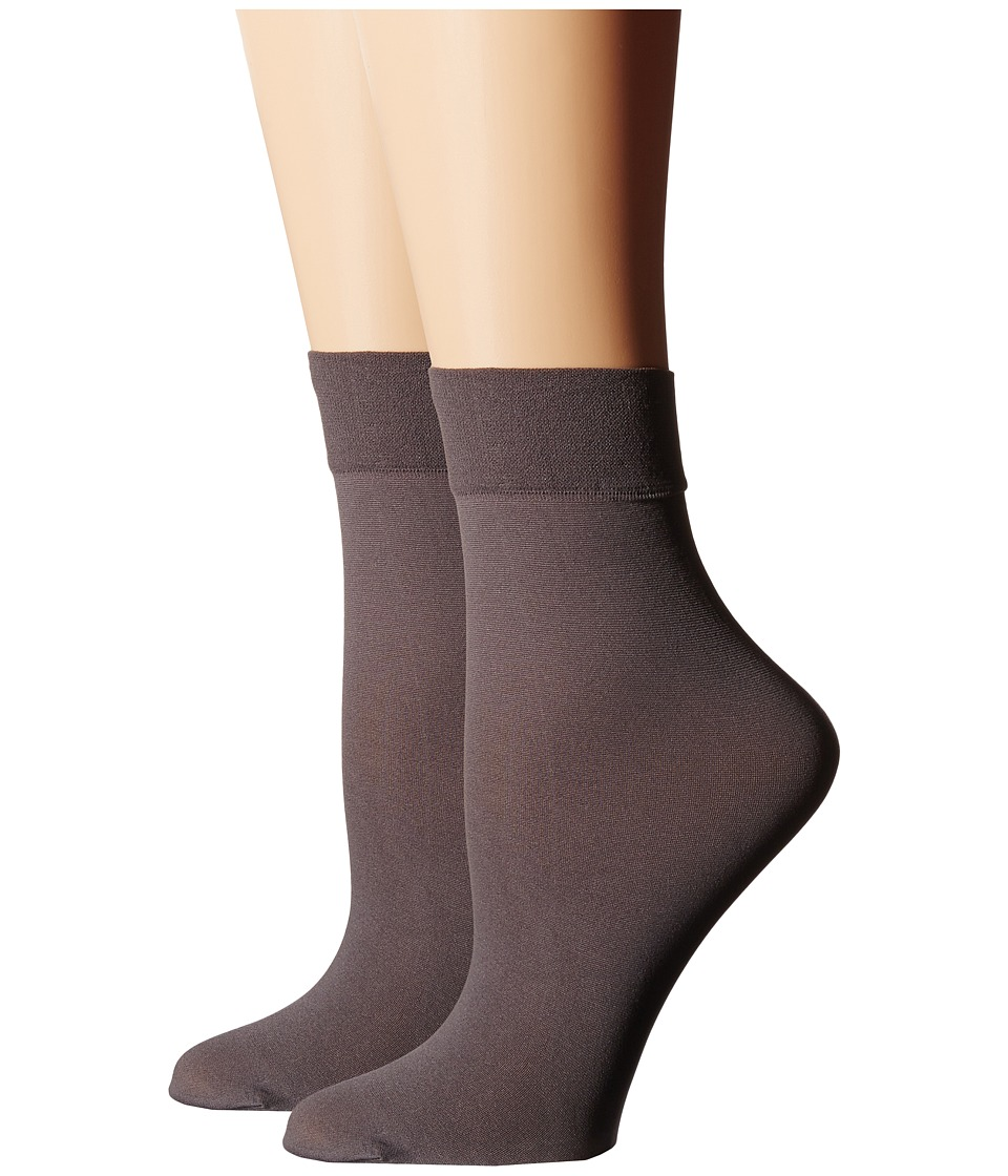 Cole Haan - 2-Pair Solid Anklet (Stormcloud) Women's Crew Cut Socks Shoes