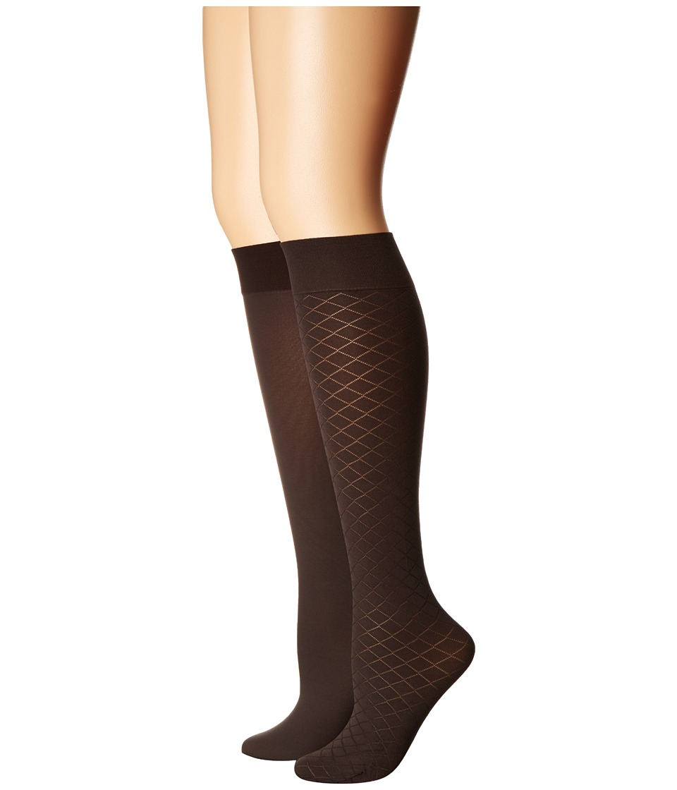 Cole Haan - 2-Pair Textured Knee High (Deep Espresso) Women's Knee High Socks Shoes