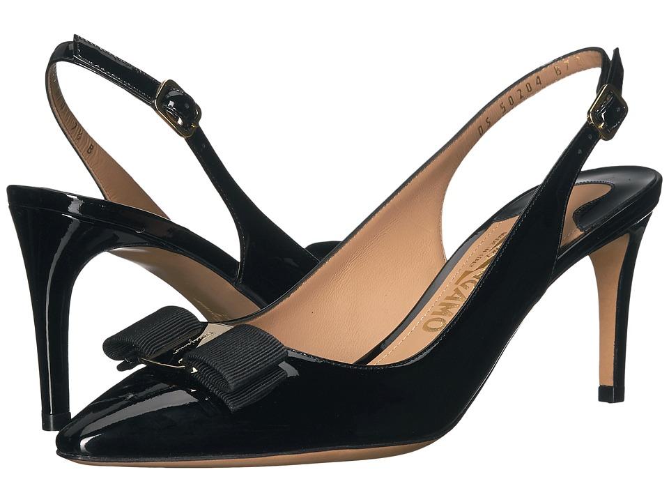 Salvatore Ferragamo - Patent Leather Mid-Heel Slingback (Nero Patent) High Heels