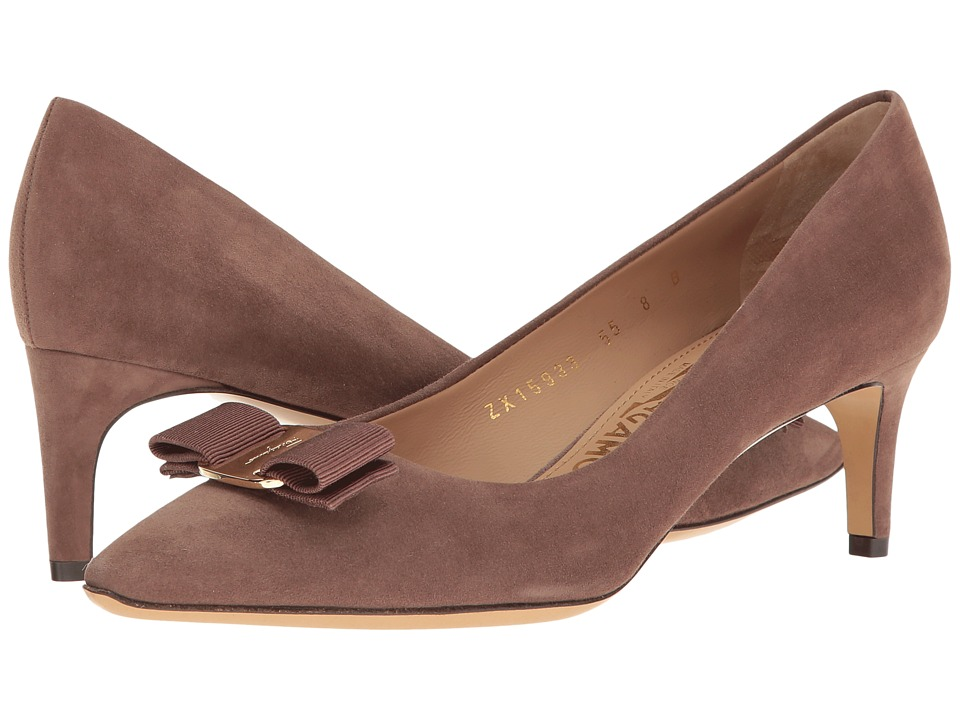 Salvatore Ferragamo - Emy 55 (New Moka Suede) High Heels