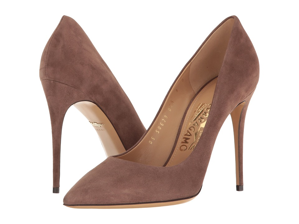 Salvatore Ferragamo Suede High-Heel Pump (New Moka Suede) High Heels
