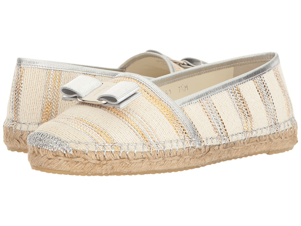Salvatore Ferragamo Striped Canvas/Suede Espadrille (Panna Tess) Women