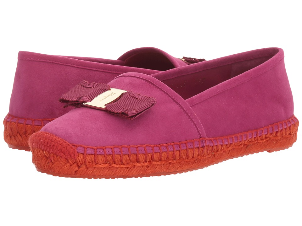 Salvatore Ferragamo - Striped Canvas/Suede Espadrille (Sangria Suede Kid RO) Women's Flat Shoes