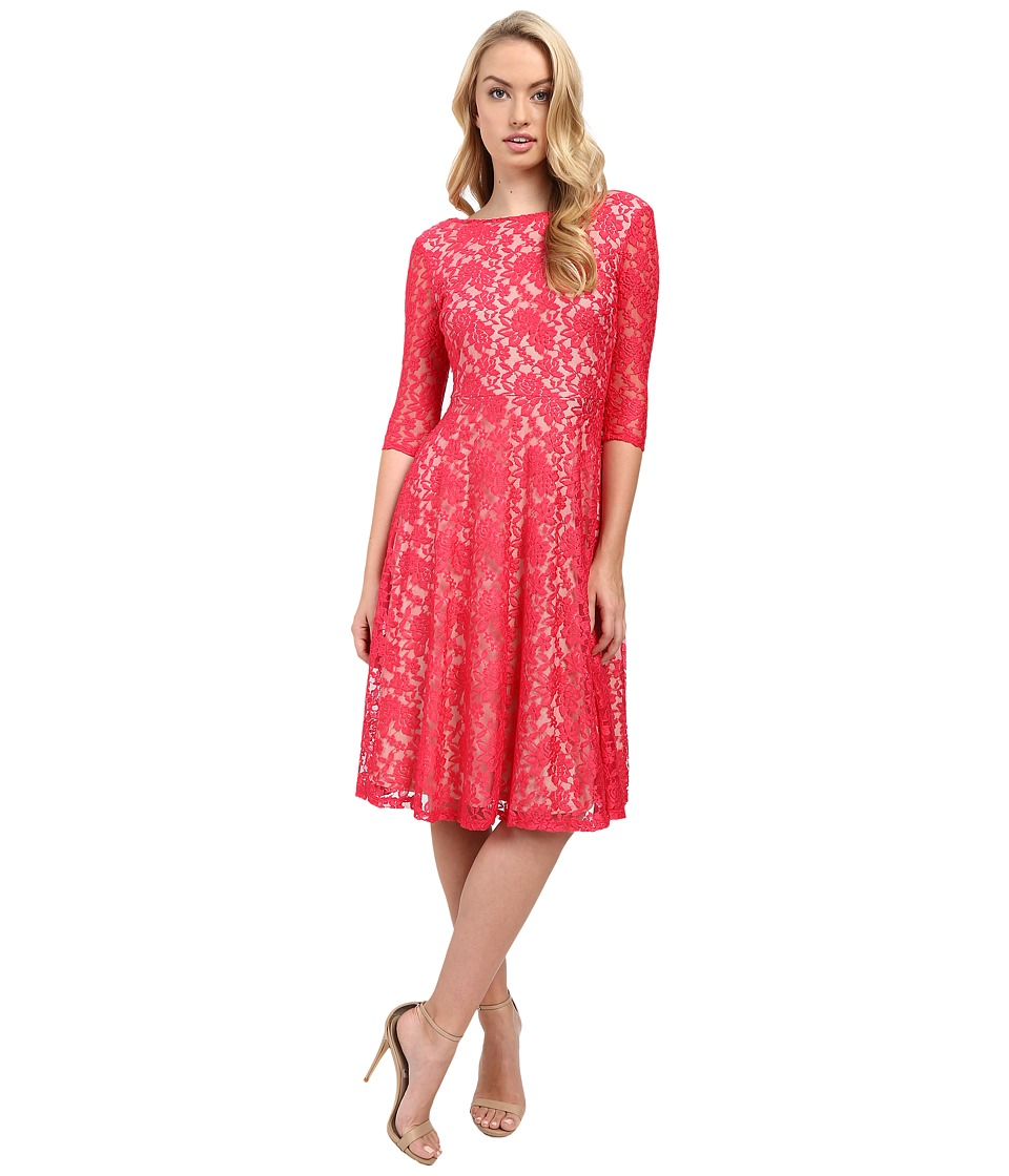 Sangria - 3/4 Sleeve All Over Lace High-Low Hem Fit Flare (Peony/Nude) Women's Dress