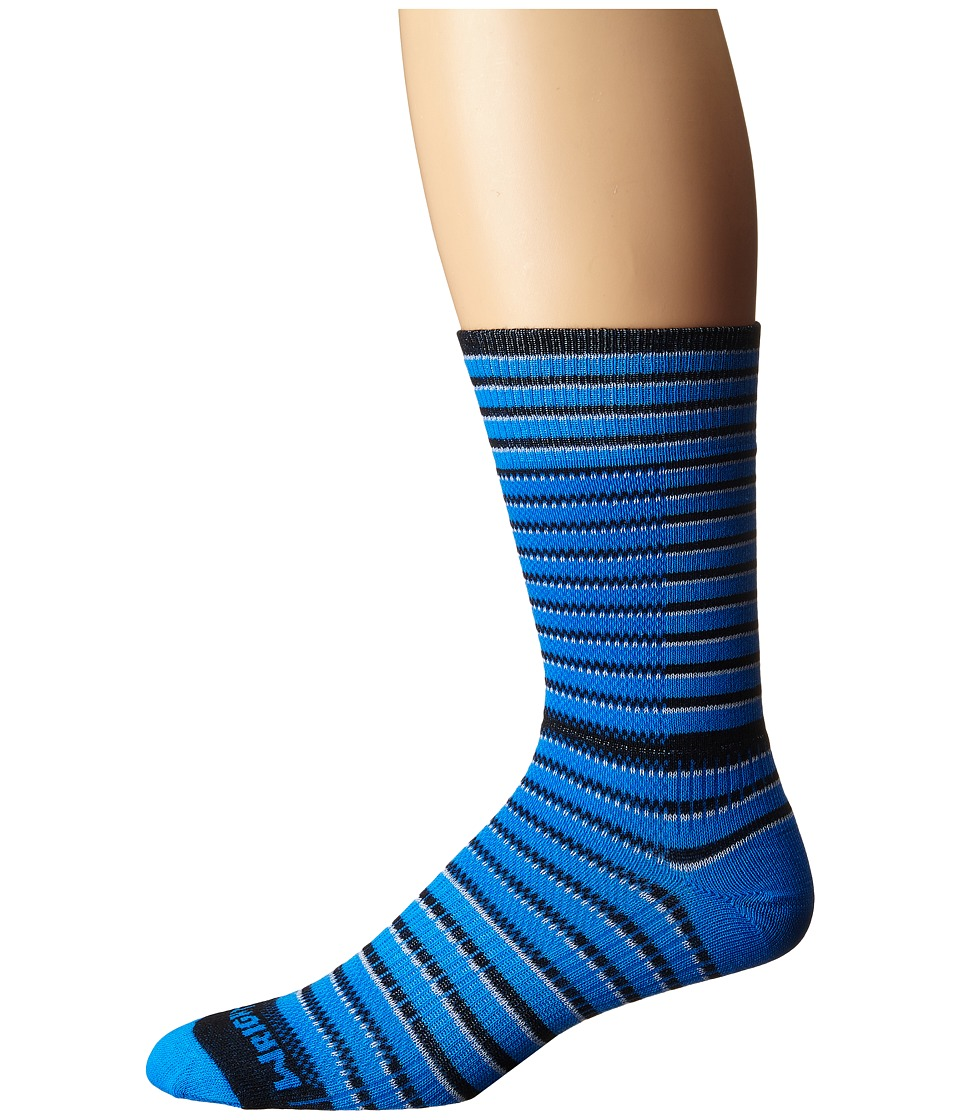 Wrightsock - Cool Mesh Striped Crew Single Pack (Blue/Black/White) Crew Cut Socks Shoes