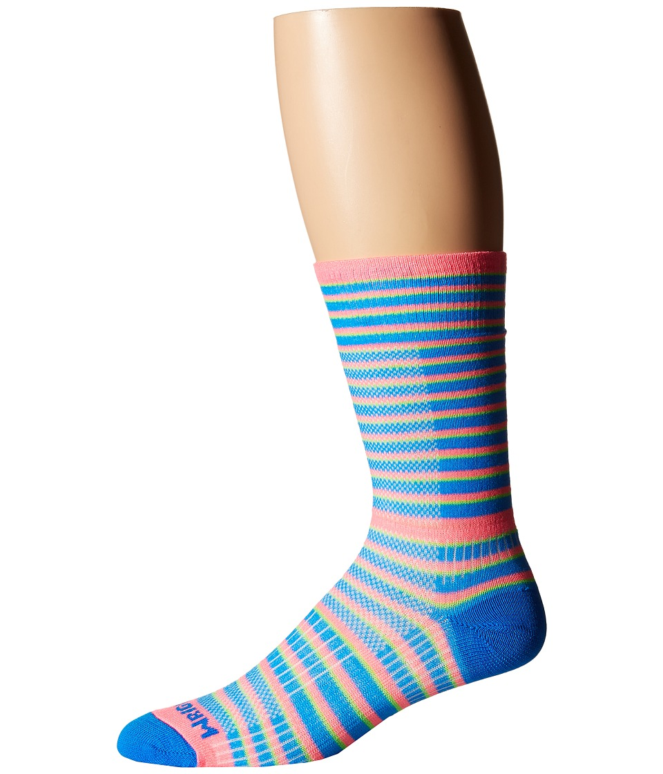 Wrightsock - Cool Mesh Striped Crew Single Pack (Pink/Blue) Crew Cut Socks Shoes