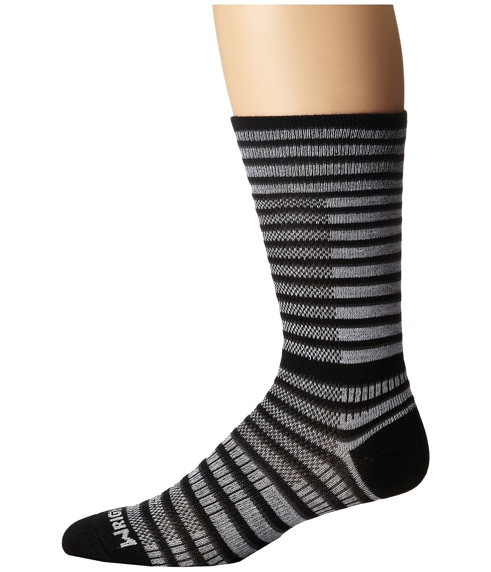 Wrightsock - Cool Mesh Striped Crew Single Pack (Black/White) Crew Cut Socks Shoes