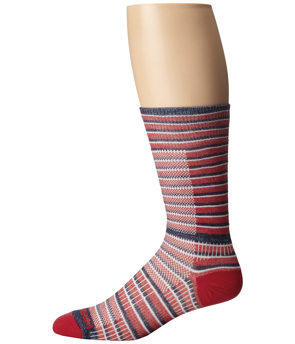 Wrightsock - Cool Mesh Striped Crew Single Pack (Red/White/Blue) Crew Cut Socks Shoes