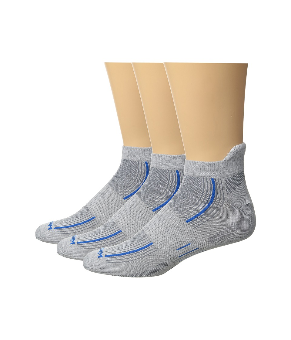 Wrightsock - Stride 3-Pack (Light Grey/Blue) Crew Cut Socks Shoes