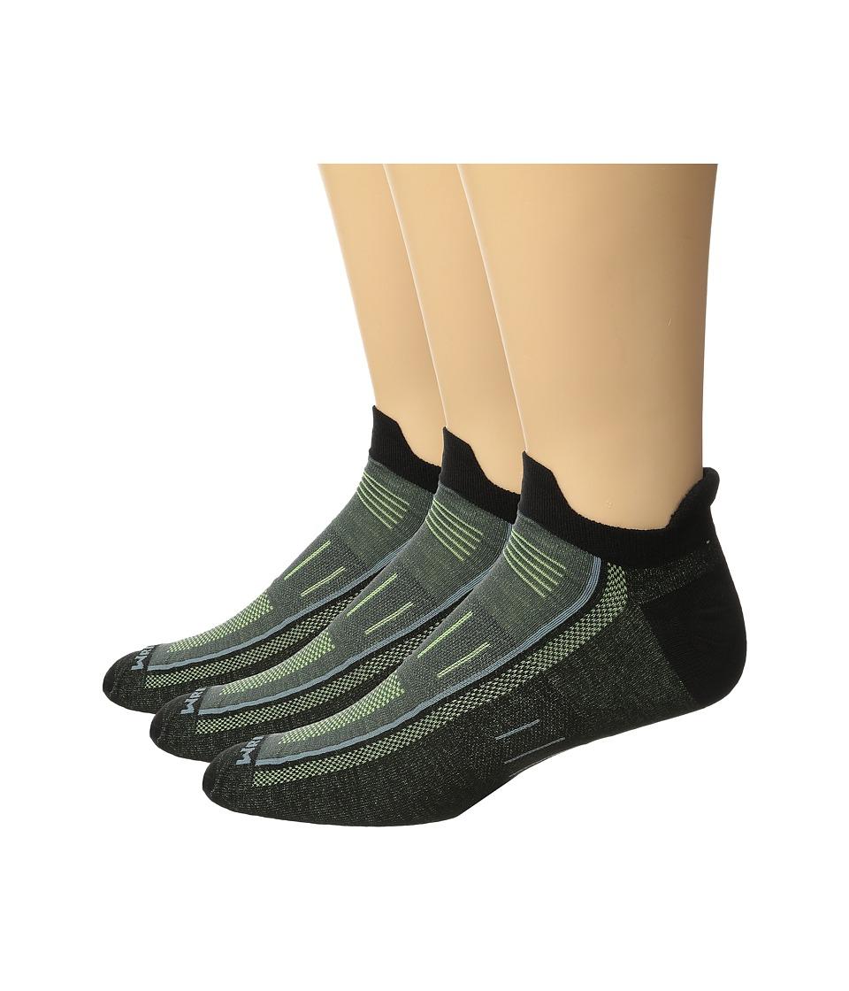 Wrightsock - Endurance Double Tab 3-Pack (Black/Yellow) Crew Cut Socks Shoes