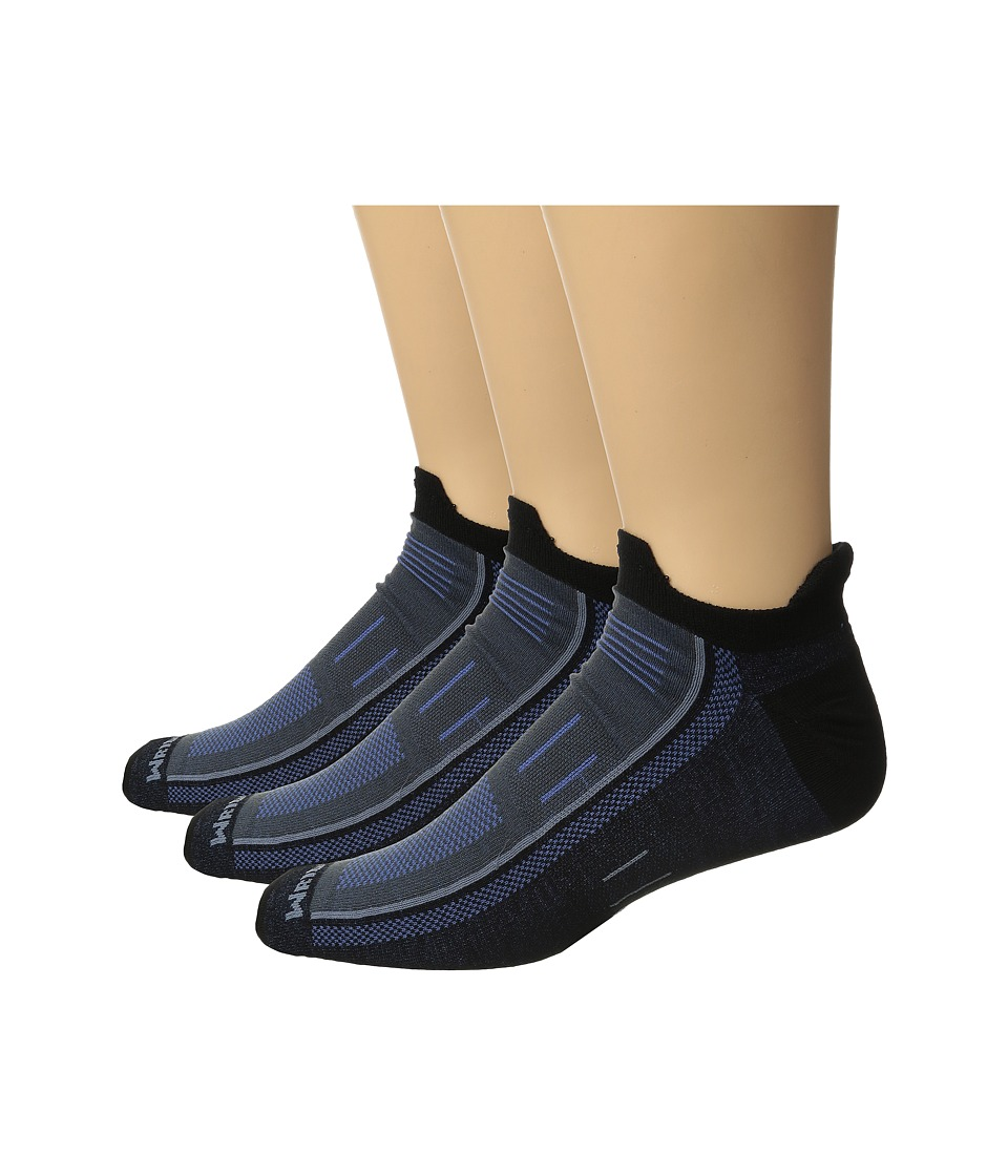Wrightsock - Endurance Double Tab 3-Pack (Black/Denim) Crew Cut Socks Shoes