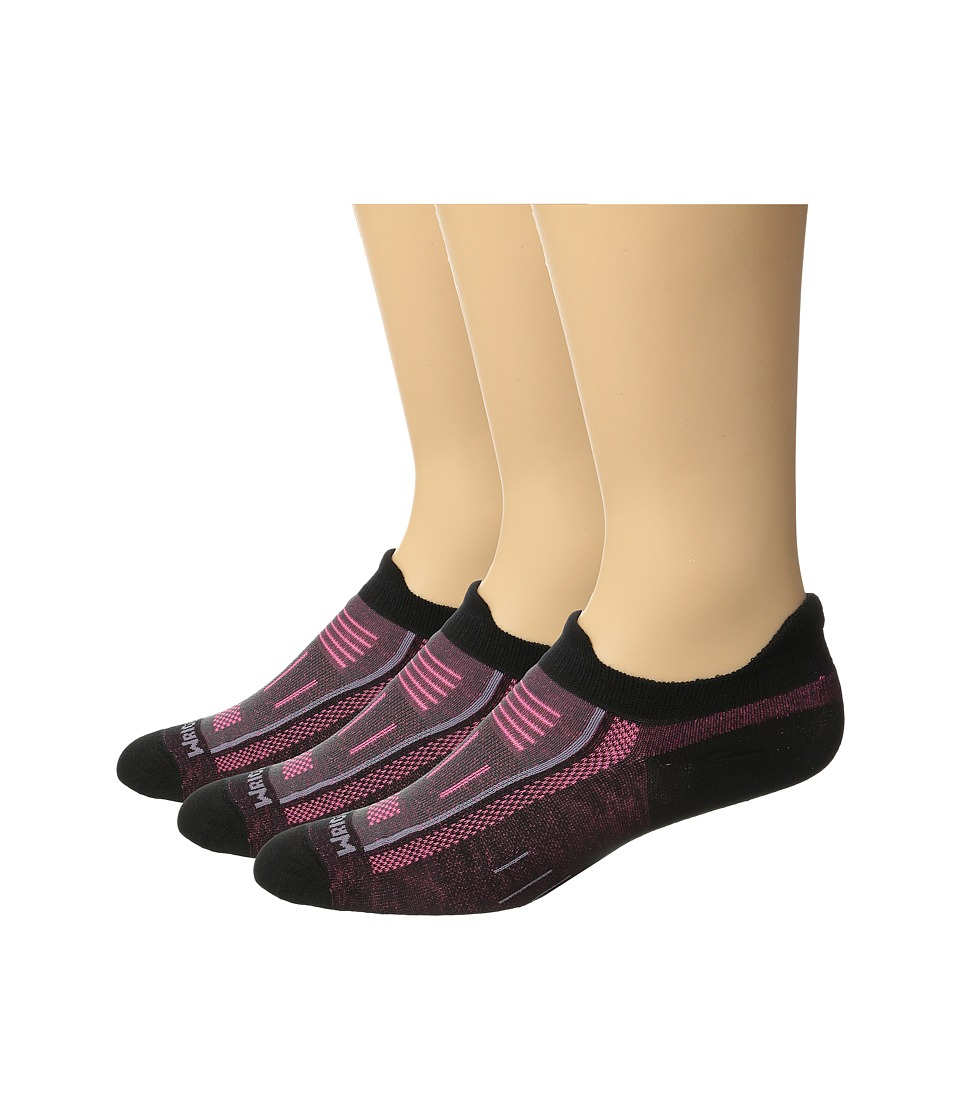 Wrightsock - Endurance Double Tab 3-Pack (Black/Pink) Crew Cut Socks Shoes