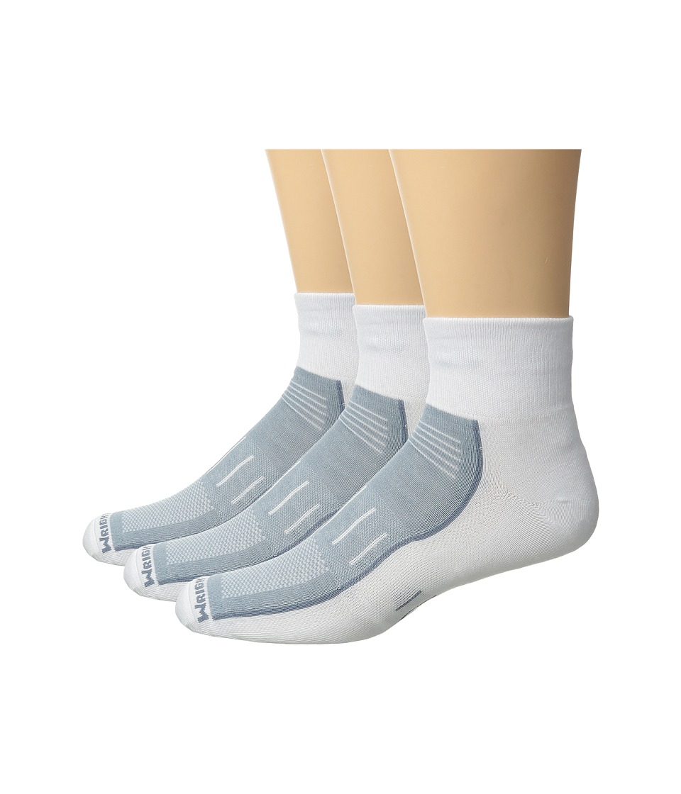 Wrightsock - Endurance Quarter 3-Pack (White) Crew Cut Socks Shoes