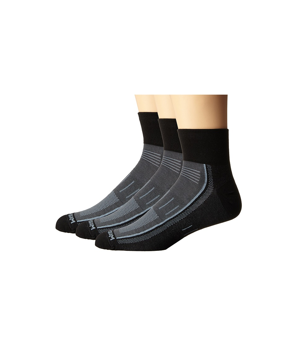 Wrightsock - Endurance Quarter 3-Pack (Black) Crew Cut Socks Shoes