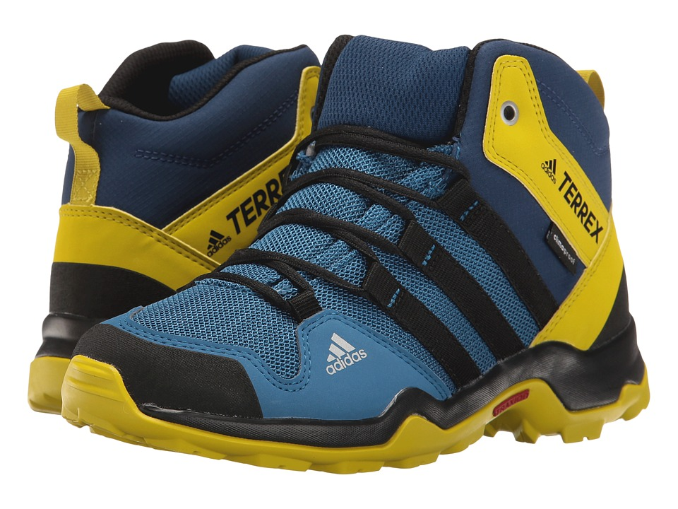 adidas Outdoor Kids - Terrex AX2R Mid CP (Little Kid/Big Kid) (Core Blue/Black/Unity Lime) Boys Shoes