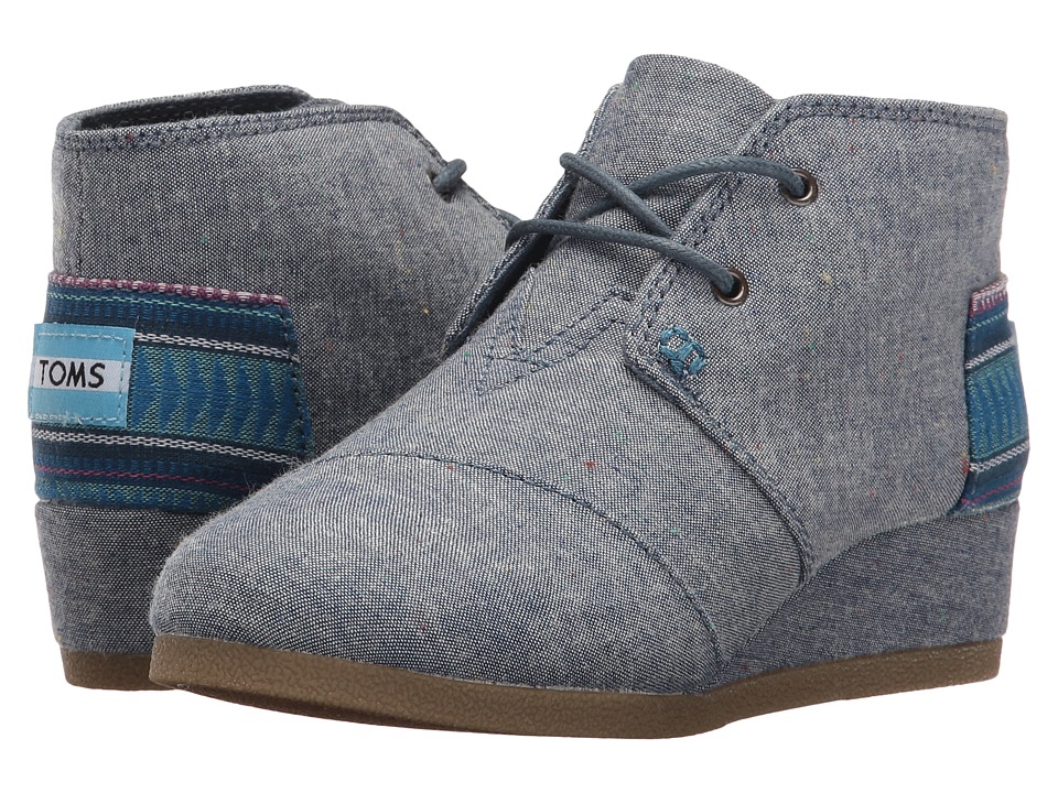 TOMS Kids - Desert Wedge Bootie (Little Kid/Big Kid) (Blue Multi Speckle Chambray) Girls Shoes