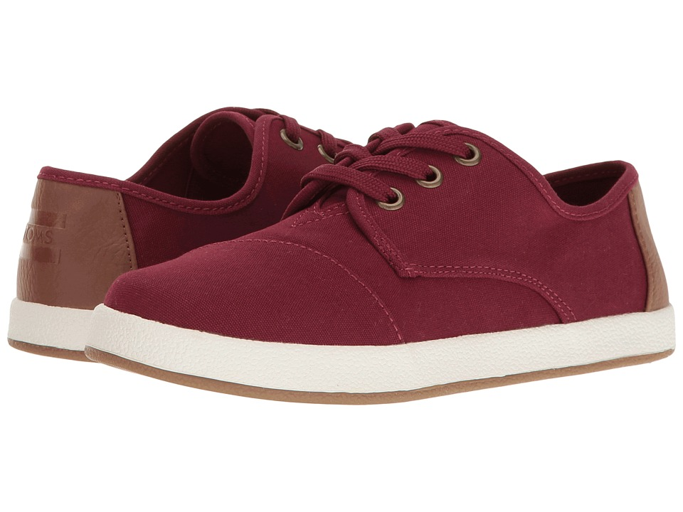 TOMS Kids - Paseo Sneaker (Little Kid/Big Kid) (Burgundy Canvas) Kids Shoes