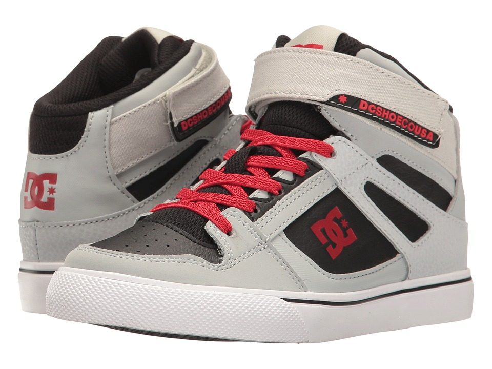 DC Kids - Spartan High EV (Little Kid/Big Kid) (Grey/Black/Red) Boys Shoes
