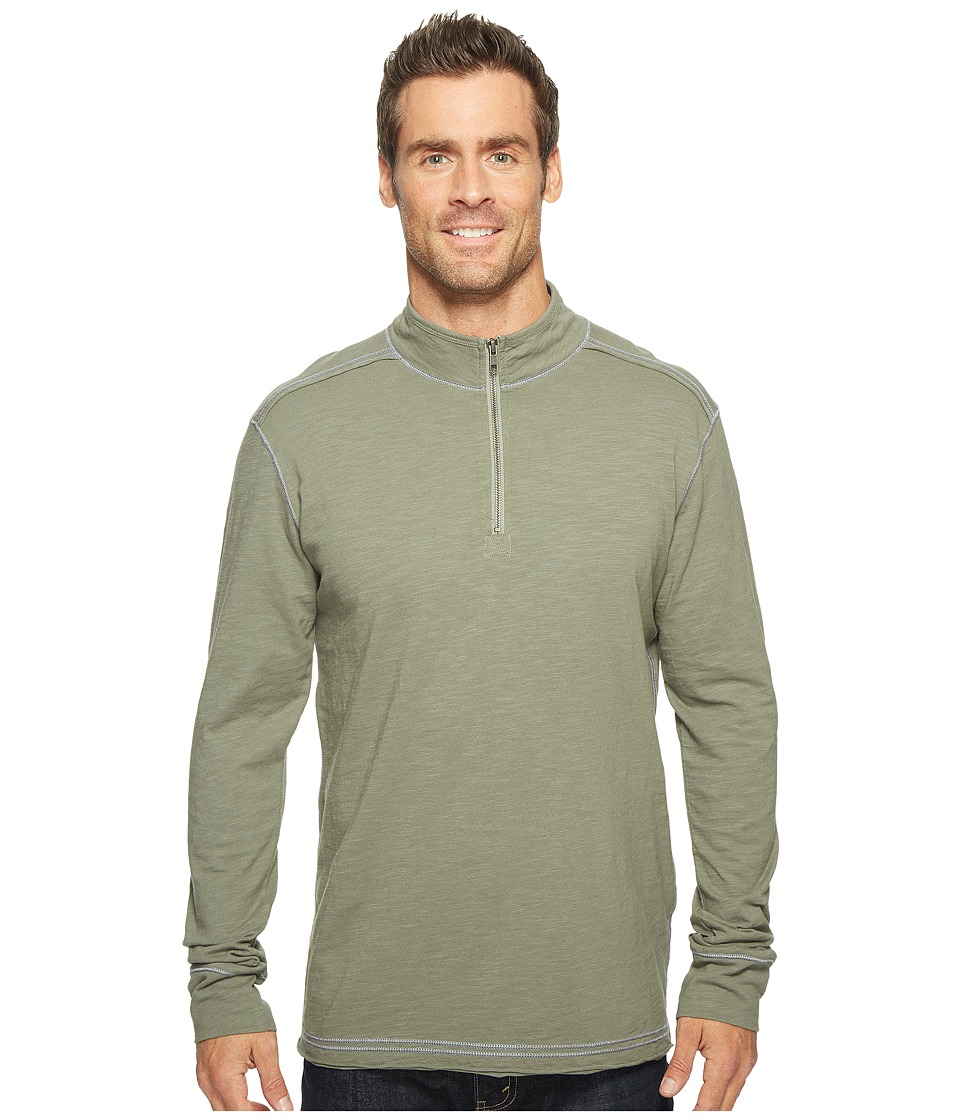 Ecoths - Black Rock 3/4 Zip Shirt (Agave Green) Men's Long Sleeve Pullover