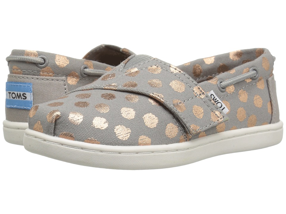 TOMS Kids - Bimini Espadrille (Infant/Toddler/Little Kid) (Drizzle Grey/Rose Gold Foil) Girls Shoes