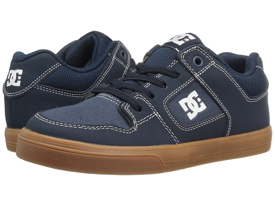 DC Kids - Pure Elastic (Little Kid/Big Kid) (Navy/Gum) Boys Shoes