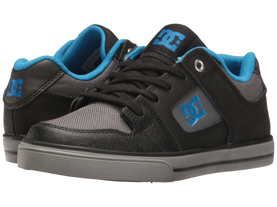 DC Kids - Pure SE (Little Kid/Big Kid) (Black/Grey/Blue) Boys Shoes