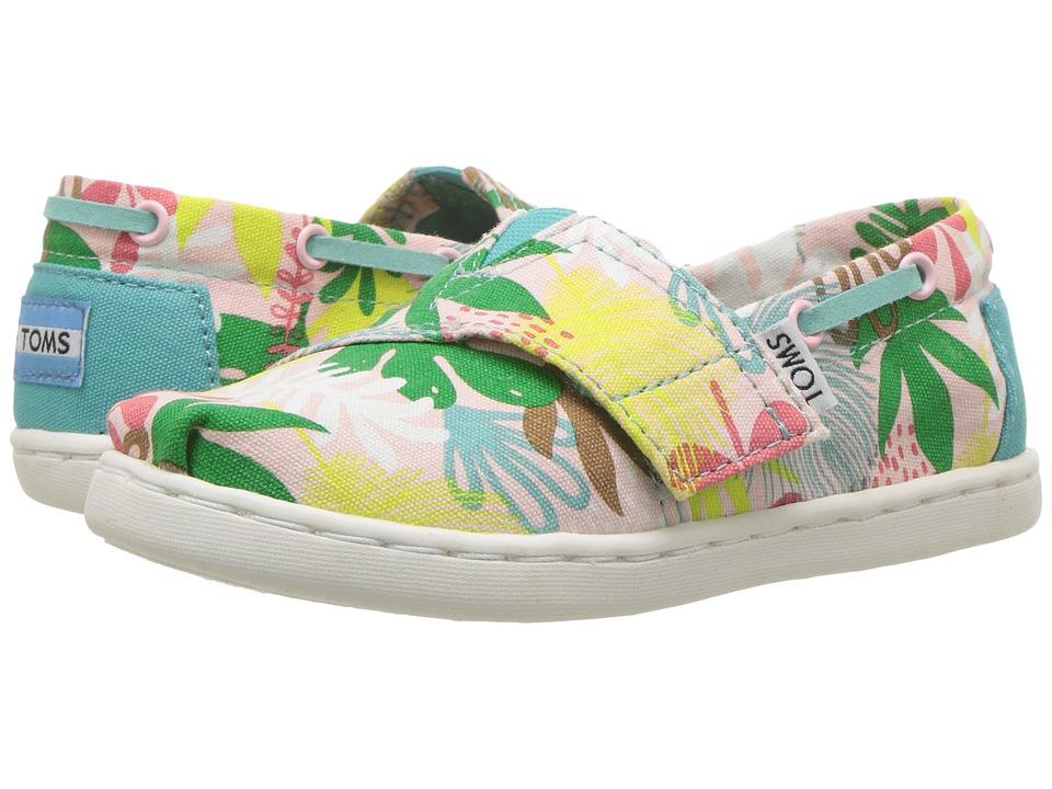TOMS Kids - Bimini Espadrille (Infant/Toddler/Little Kid) (Pink Tropical Palms) Girls Shoes