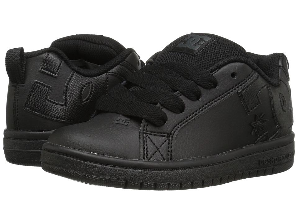 DC Kids Court Graffik (Little Kid/Big Kid) (Black/Black/Black) Boys Shoes