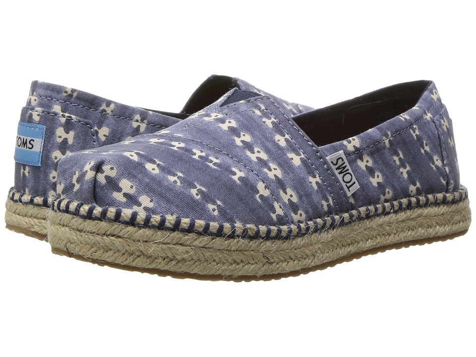 TOMS Kids - Platform Alpargata Espadrille (Little Kid/Big Kid) (Navy Batik Stripe) Girls Shoes