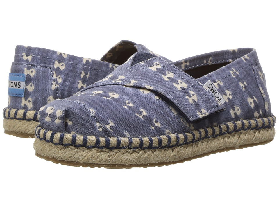 TOMS Kids - Platform Alpargata Espadrille (Toddler/Little Kid) (Navy Batik Stripe) Girls Shoes