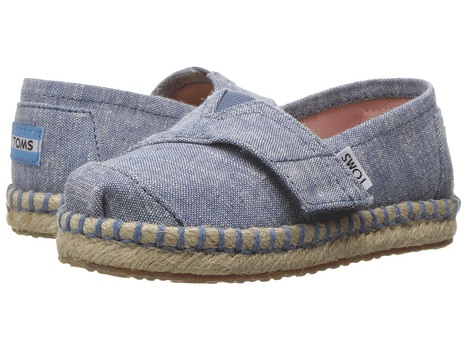 TOMS Kids - Platform Alpargata Espadrille (Toddler/Little Kid) (Blue Slub Chambray) Girls Shoes