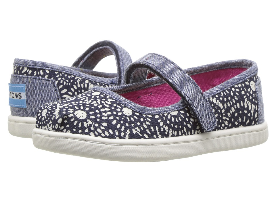 TOMS Kids - Mary Jane Flat (Infant/Toddler/Little Kid) (Navy Shibori Dots) Girls Shoes