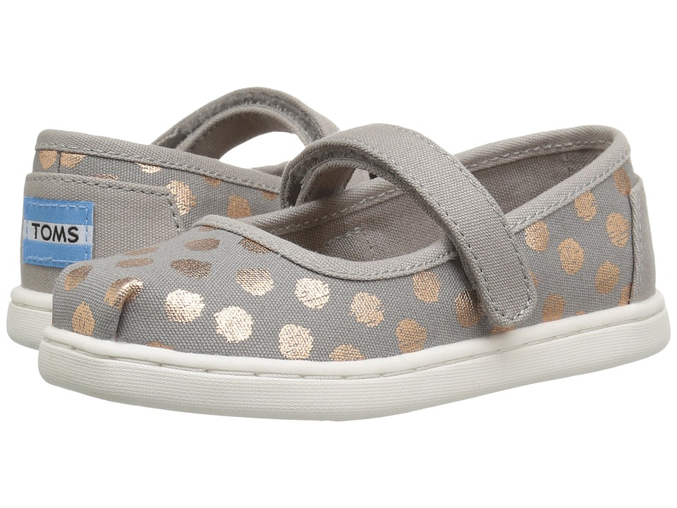 TOMS Kids - Mary Jane Flat (Infant/Toddler/Little Kid) (Drizzle Grey/Rose Gold Foil Polka Dot) Girls Shoes
