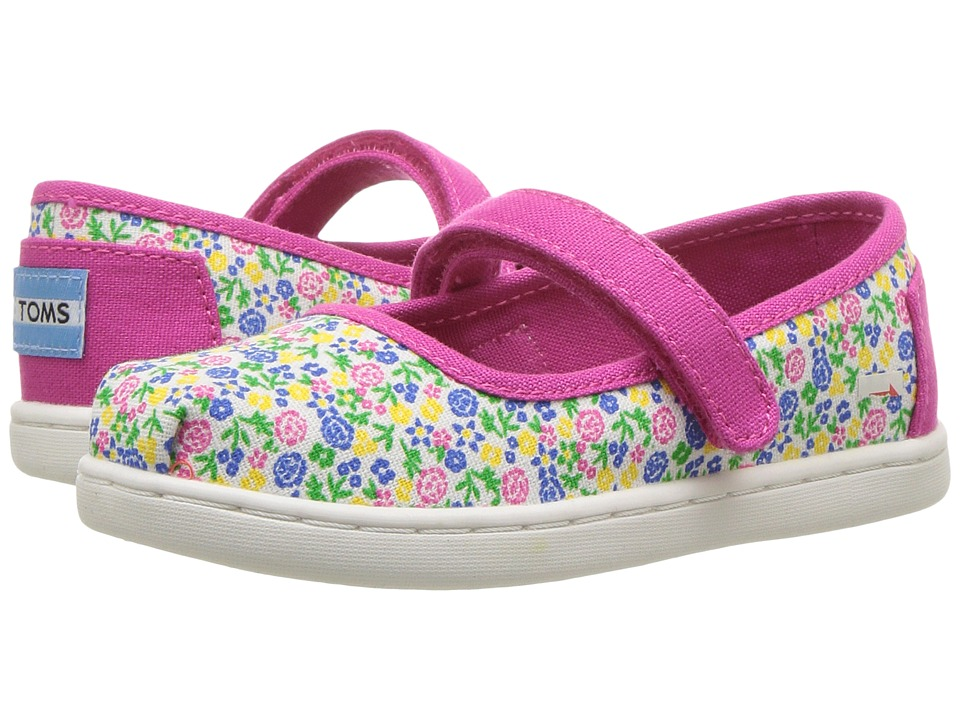 TOMS Kids - Mary Jane Flat (Infant/Toddler/Little Kid) (Fuchsia Multi Floral) Girls Shoes