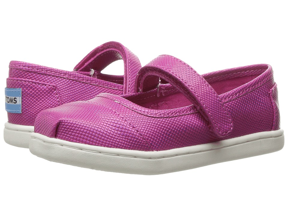 TOMS Kids - Mary Jane Flat (Infant/Toddler/Little Kid) (Fuchsia Iridescent) Girls Shoes