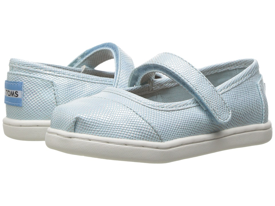 TOMS Kids - Mary Jane Flat (Infant/Toddler/Little Kid) (Pale Blue Iridescent) Girls Shoes